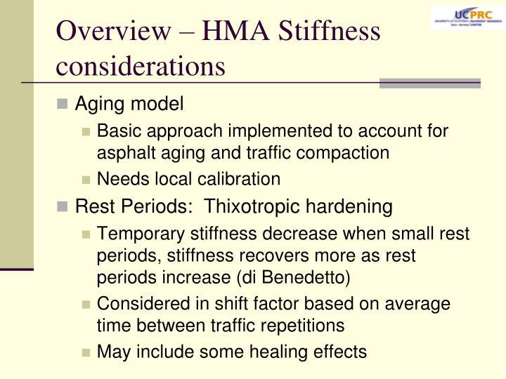 Overview – HMA Stiffness considerations