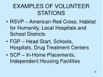 examples of volunteer stations