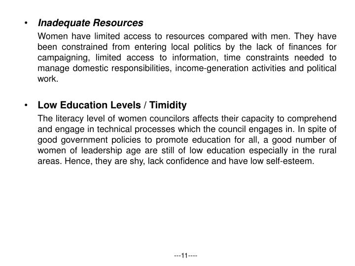 Inadequate Resources