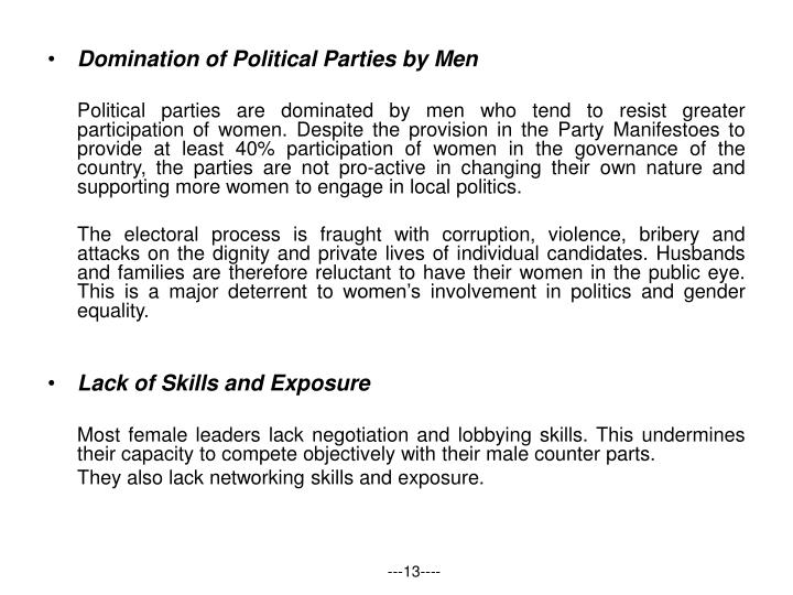 Domination of Political Parties by Men