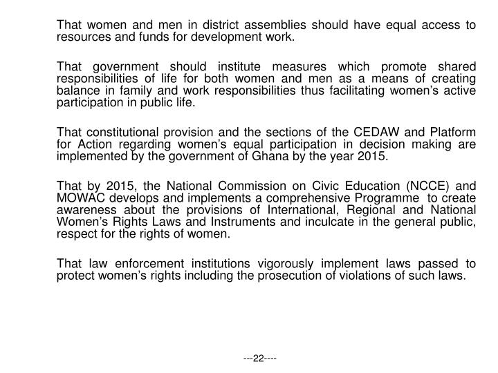 That women and men in district assemblies should have equal access to resources and funds for development work.