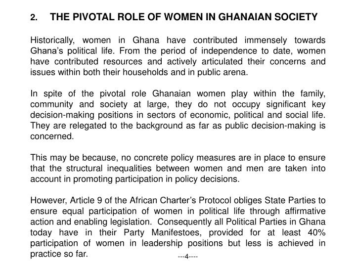 THE PIVOTAL ROLE OF WOMEN IN GHANAIAN SOCIETY