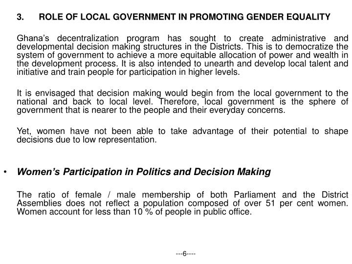 3.ROLE OF LOCAL GOVERNMENT IN PROMOTING GENDER EQUALITY