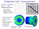 configuration 7 28 7 cavity parameters