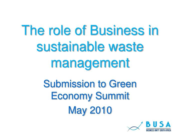 the role of business in sustainable waste management n.