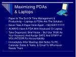maximizing pdas laptops