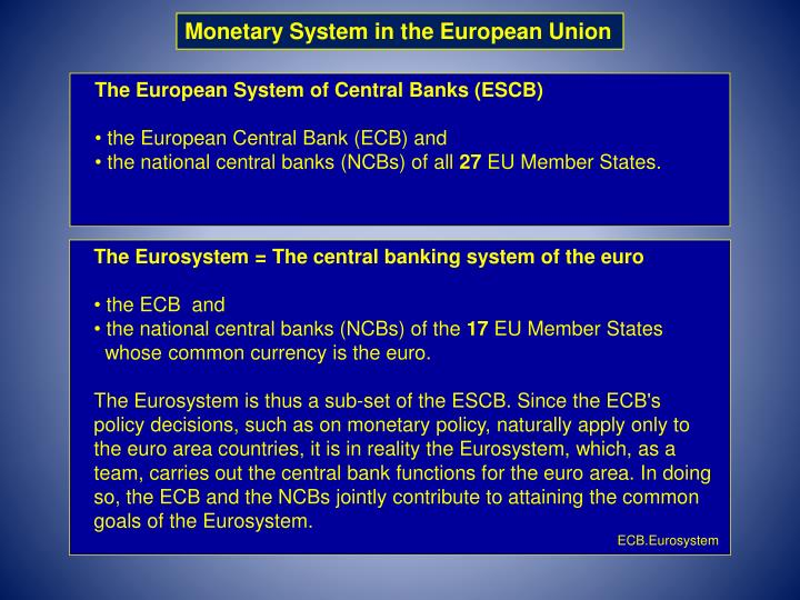 Monetary System in the European Union