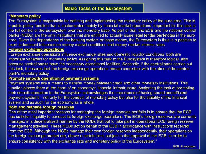 Basic Tasks of the Eurosystem