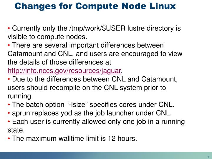 Changes for compute node linux
