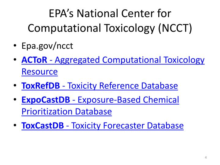 EPA's National Center for Computational Toxicology (NCCT)