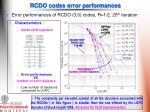 rcdo codes error performances