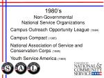 1980 s non governmental national service organizations