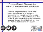 president barack obama on the edward m kennedy serve america act