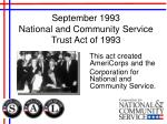 september 1993 national and community service trust act of 1993