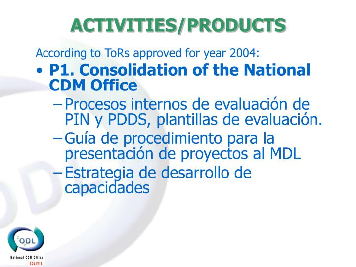 ACTIVITIES/PRODUCTS