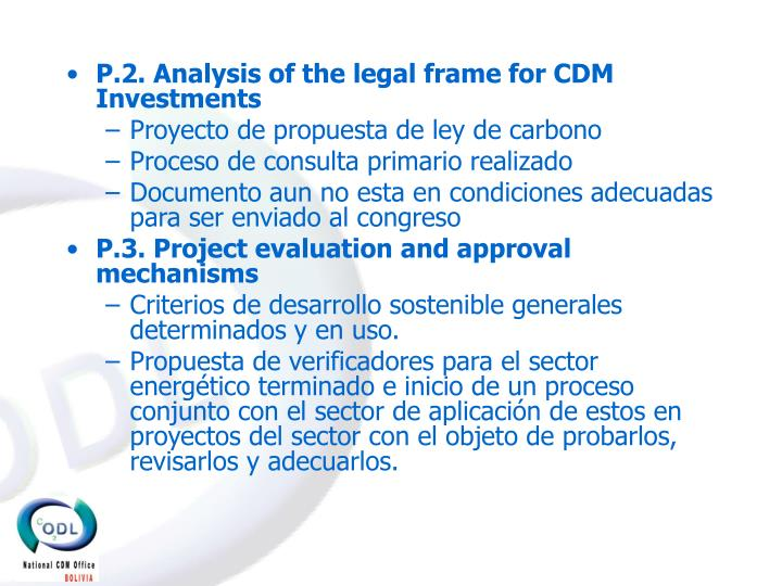 P.2. Analysis of the legal frame for CDM Investments