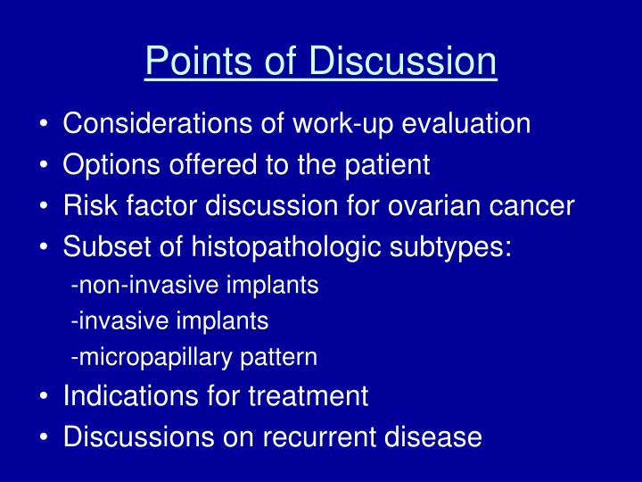 Points of Discussion