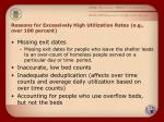 reasons for excessively high utilization rates e g over 100 percent