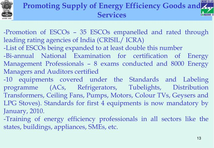 Promoting Supply of Energy Efficiency Goods and Services