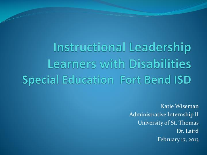 PPT - Instructional Leadership Learners with Disabilities