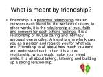 what is meant by friendship