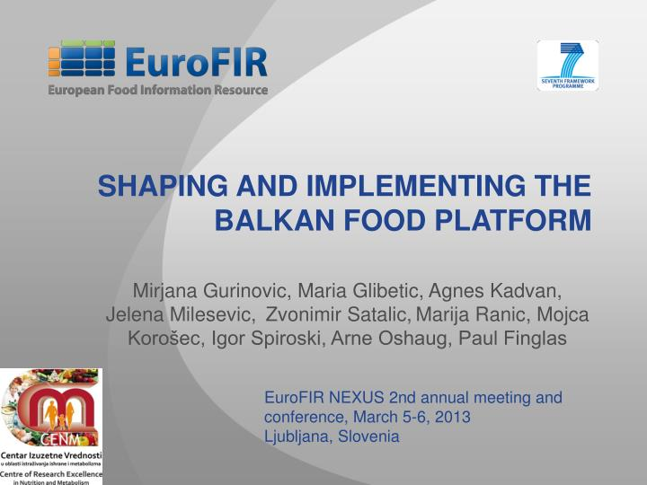Shaping and implementing the balkan food platform