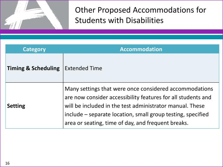Other Proposed Accommodations for Students with Disabilities