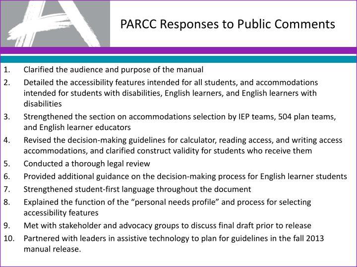 PARCC Responses to Public Comments