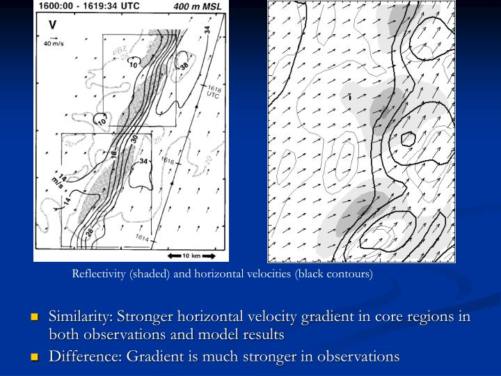 Similarity: Stronger horizontal velocity gradient in core regions in both observations and model results