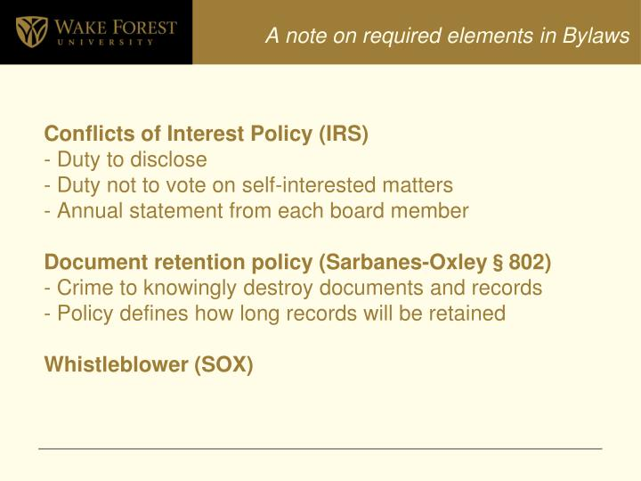 A note on required elements in Bylaws