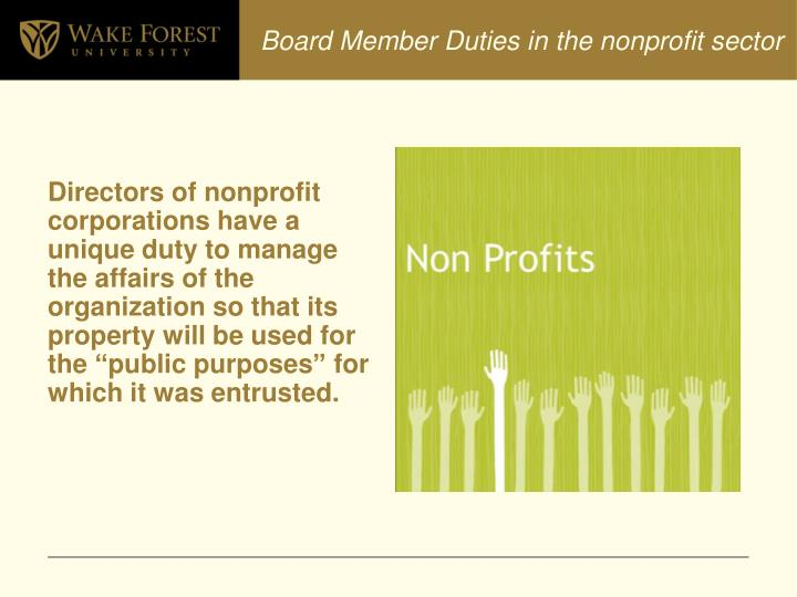 Board Member Duties in the nonprofit sector