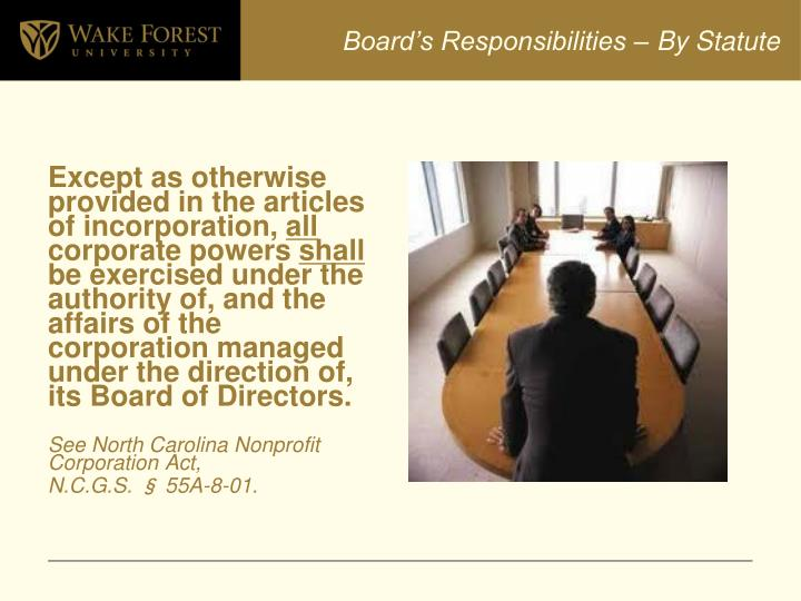 Board's Responsibilities – By Statute