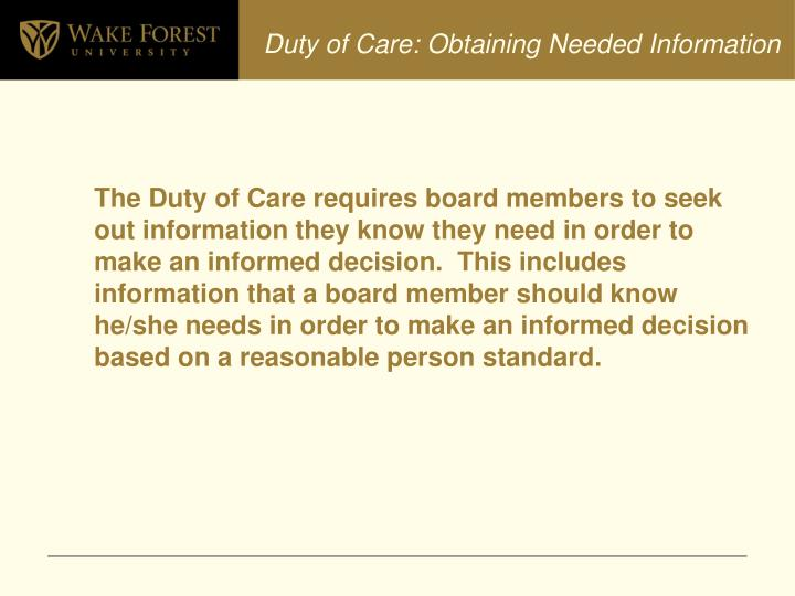 Duty of Care: Obtaining Needed Information