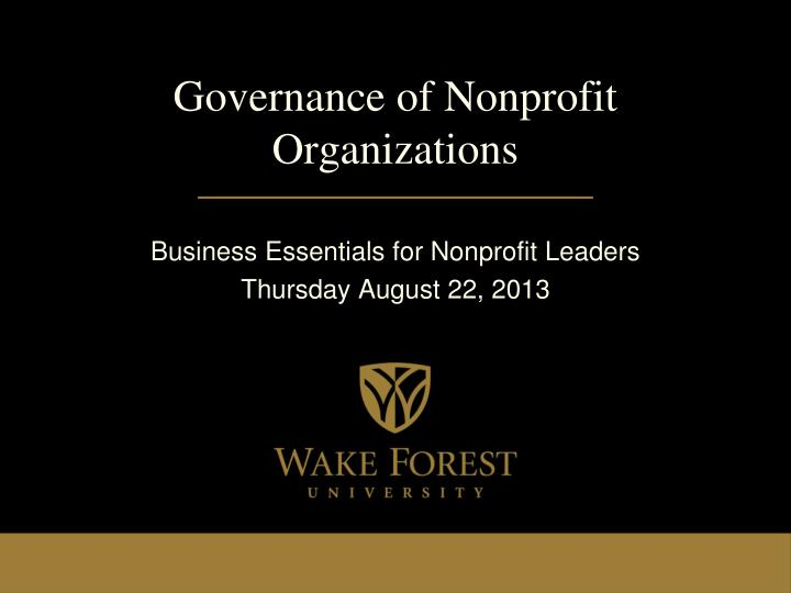 Governance of nonprofit organizations