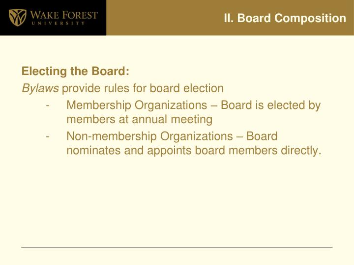 II. Board Composition