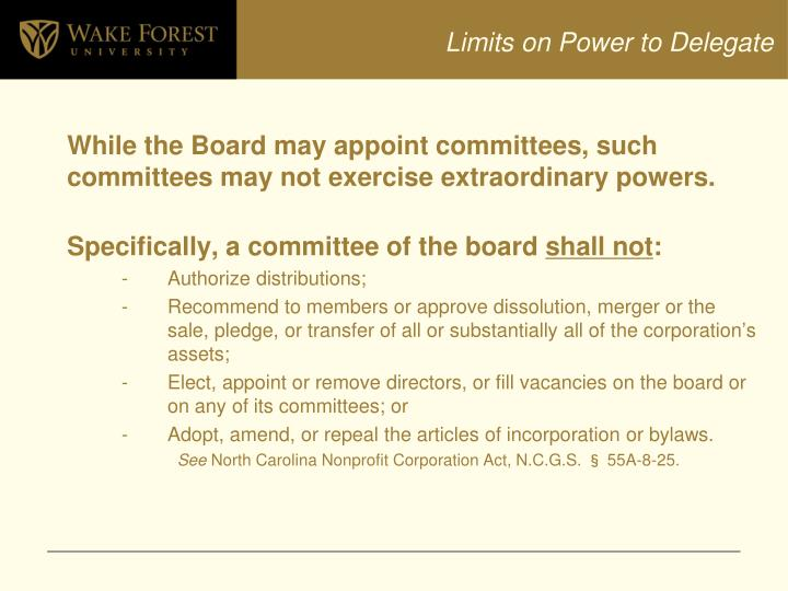 Limits on Power to Delegate