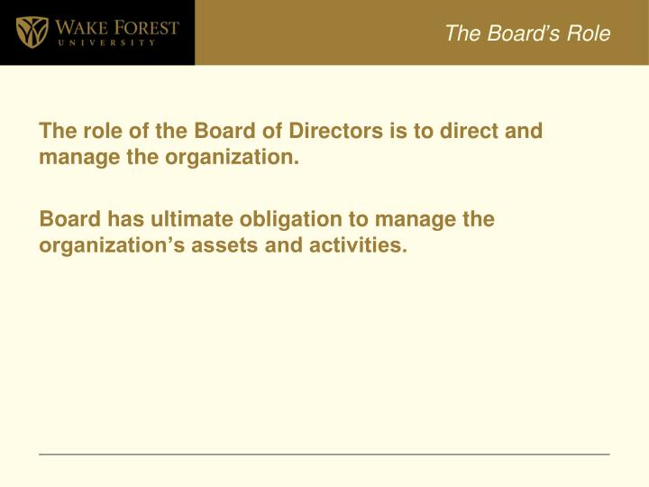 The Board's Role