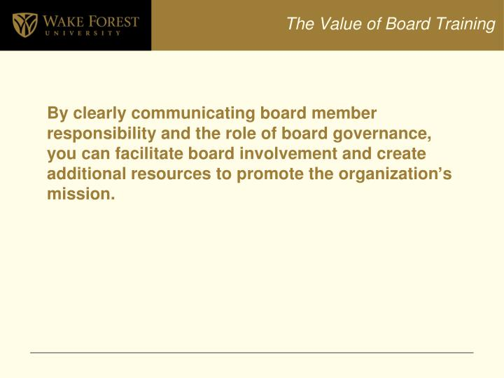 The Value of Board Training