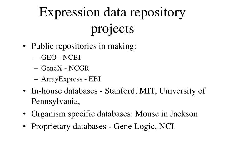 Expression data repository projects