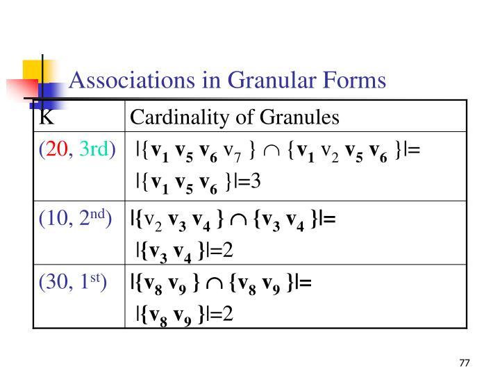 Associations in Granular Forms