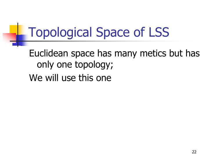 Topological Space of LSS