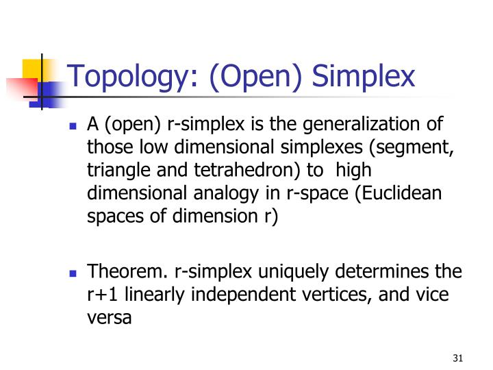 Topology: (Open) Simplex