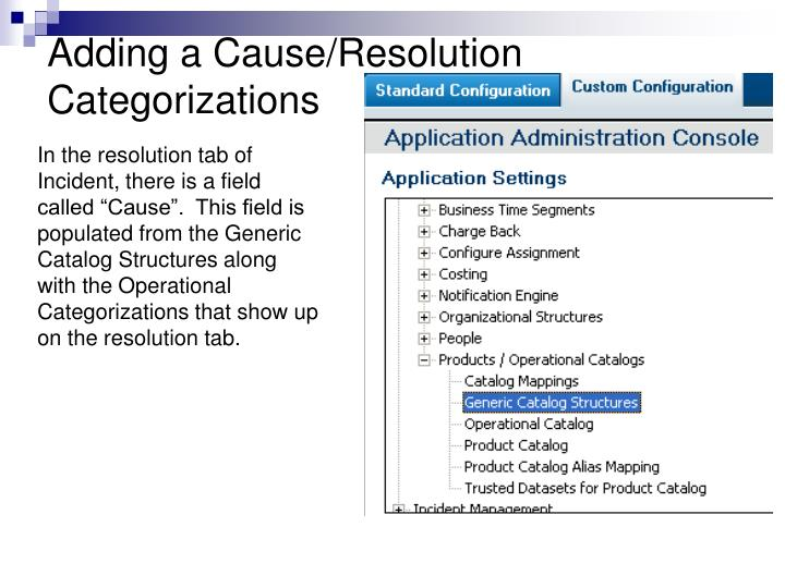 Adding a Cause/Resolution Categorizations