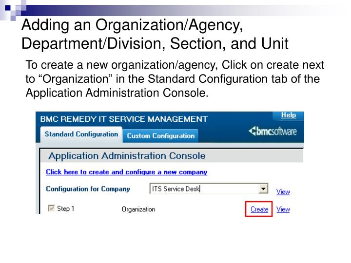 Adding an Organization/Agency, Department/Division, Section, and Unit