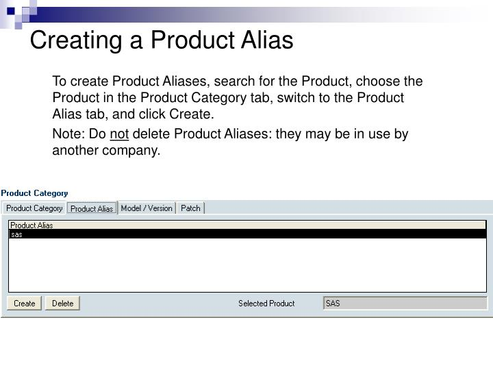 Creating a Product Alias