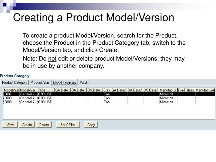 Creating a Product Model/Version