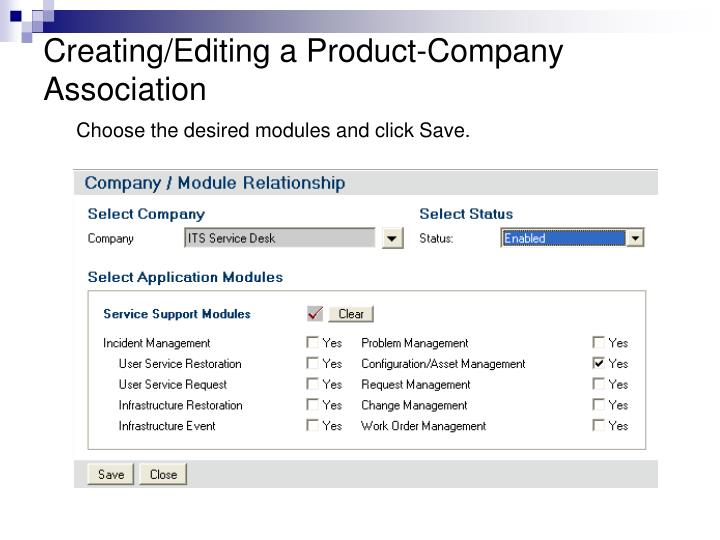 Creating/Editing a Product-Company Association
