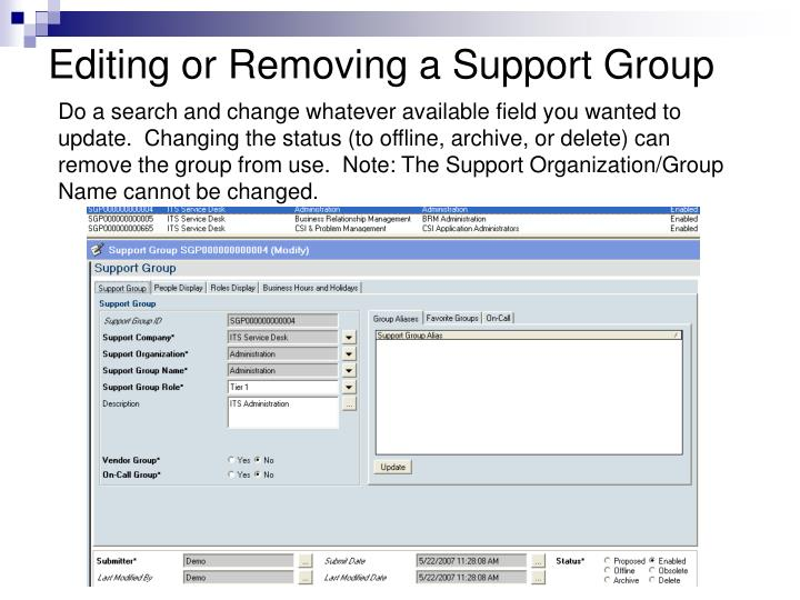 Editing or Removing a Support Group