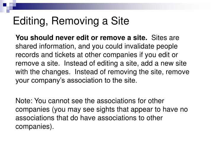 Editing, Removing a Site