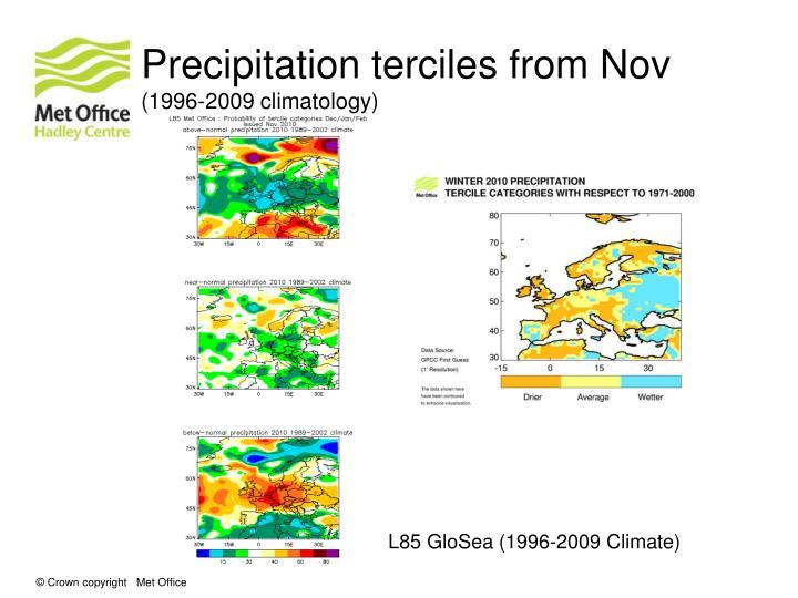 Precipitation terciles from Nov